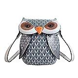 junengSO Cute Owl Cartoon PU Bolso de Cuero Casual Satchel School Purse Shoulder Bag Crossbody