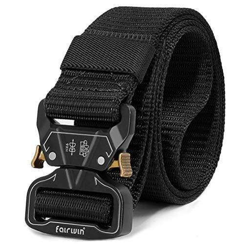 Fairwin Tactical Belt for Men, Military Style Nylon Web Belt with Heavy-Duty Unique Quick-Release Metal Buckle (Black, L(Waist 42''-46''))