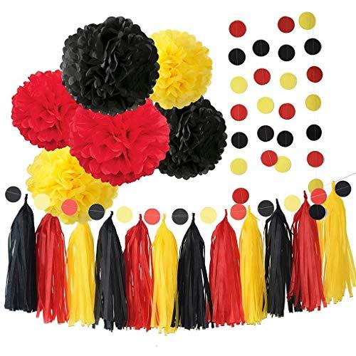 Amycute Decoración de fiesta Mickey Mouse Themed, Bola de flores de papel Rojo Amarillo Negro Guirnalda Banderas de borla Decoraciones de cumpleaños Baby Shower