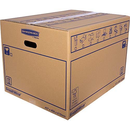 SmoothMove Caisses de Déménagement en Carton Double Epaisseur avec Poignées - 113 litres, 40,5 x 45,5 x 61 cm (Lot de 10)