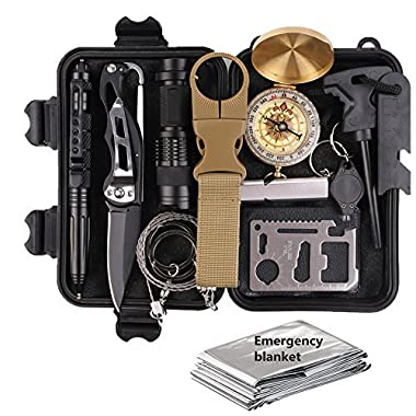 Survival Gear Kits 13 in 1- Outdoor Emergency SOS Survive Tool for Wilderness/Trip / Cars/Hiking / Camping gear - Wire Saw, Emergency Blanket, Flashlight, Tactical Pen, Water Bottle Clip ect,