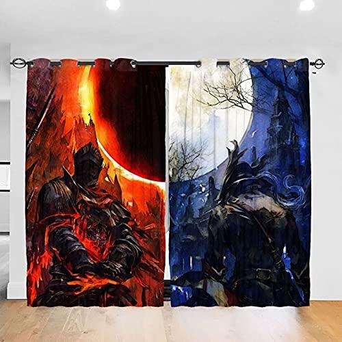 LIUCHIHYUU Dark Souls - Cortinas fáciles de instalar (2 paneles, 52 x 213,4 cm)