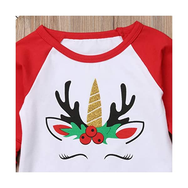 Xmas Baby Girls Unicorn Shirt Long Sleeves Christmas Print Color Block Top Blouse Tunic Outfit for 1-5Years 5