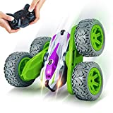 Remote Control Car, REAPP RC Cars for Kids 2.4Ghz Stunt Car with Headlights 360 Degree Rotation 4WD Car Toys Gifts for Boys Girls Age Over 4 Years Old(All Batteries Included) (Green)