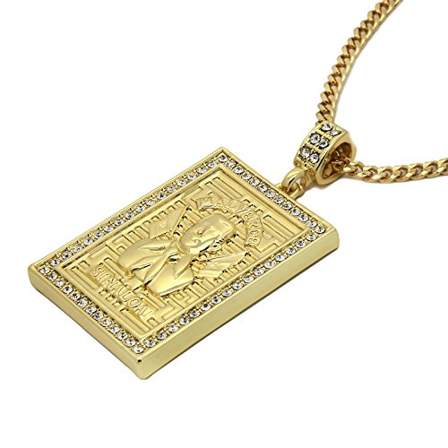 "Men's 14k Gold Toned Malverde Pendant with 3mm 30"" Cuban Chain"