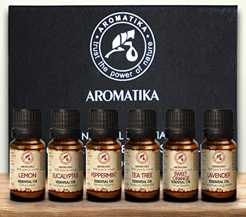 Ätherische Öle Set 6x10ml - 100% Rein - Geschenkset für Diffuser - Orangenöl - Pfefferminzöl - Eukalyptusöl - Zitronenöl - Teebaumöl - Lavendelöl - Aromatherapie Öl - Ätherische Öle für Diffuser Set