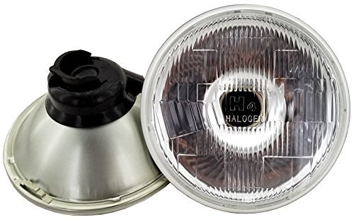 GS Power's Chrome OEM style 7 inch Round Glass Lens Housing H4 HID LED Halogen High Low Beam Headlight Lamp Conversion Replacement (2 pc, Lights not included)