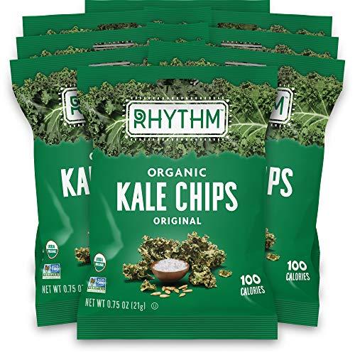 Rhythm Superfoods Kale Chips, Original, Organic and Non-GMO, 0.75 Oz (Pack of 8) Single Serves, Vegan/Gluten-Free Superfood Snacks