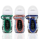 Kanudle Glass Baby Bottle Sleeve Covers for 8 oz Philips Avent   Adjustable Sleeves   Heat and Cold Retention   Neoprene - Panda, Koala, Monkey   Non Slip Grip   Set of 3