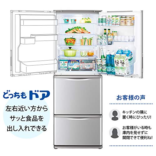 シャープSHARP冷蔵庫(幅60.0cm・スリムタイプ)350L両開き3ドアシルバーSJ-W352F-S