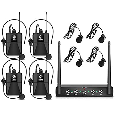 Debra Audio Pro UHF 4 Channel Wireless Microphone System With Cordless Handheld Lavalier Headset Mics, Metal Receiver, Ideal For Karaoke Church Party (With 2 Handheld & 2 Bodypack (A))