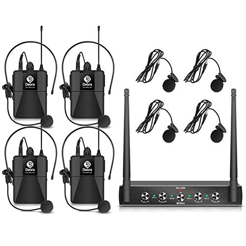 Debra Audio Pro UHF 4 Channel Wireless Microphone System with Cordless Handheld Lavalier Headset Mics, Metal Receiver, Ideal for Karaoke Church Party (with 4 Bodypack (B))