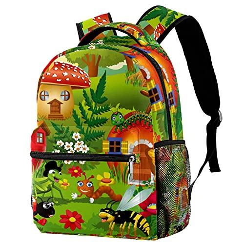 Mochila de dibujos animados insecto seta oruga mariposa mochila escolar viaje casual mochila para mujeres adolescentes niñas niños