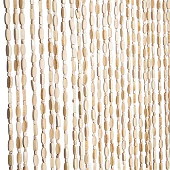 FlavorThings Natural Wood and Bamboo Beaded Curtain for Doorway Room Divider 52 Strands 36inch x 79inch,Bamboo and Wooden Doorway Beads-Boho Bohemian Curtain