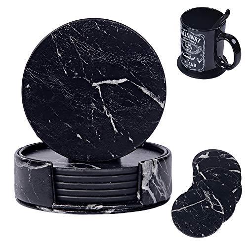 DINGZHAO Untersetzer aus PU-Leder mit Marmor-Motiv, 6 Stück, mit Halter für Arten von Tassen, schützt Möbel vor Kratzern, Verschüttungen, Wasserringen, Beschädigungen (Marmorschwarz)