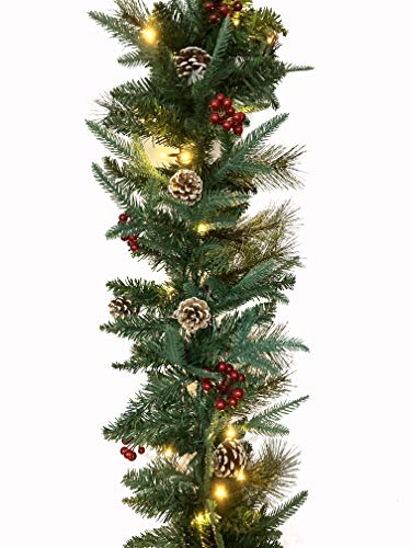 Pre-Lit Christmas Garland - 9ft Christmas Garland Flocked with Silver Bristles,Pine Cones and Red Berries, 50 LED Battery Operated Lights with 8 Adjustment Modes, Xmas Decor for Indoor and Outdoor