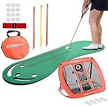 Rukket Putting Green & Golf Chipping Net Bundle | Indoor & Outdoor Practice Greens | Mats for Home & Office | Portable Golfing Target Accessories | Alignment Sticks and Balls (Golf Mat Bundle)