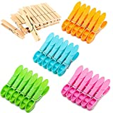 44 Pack Clothes Pins, 24 Pcs Plastic Clothespins and 20 Pcs Wooden Clothespins Heavy Duty Laundry Clips with Springs, Air-Drying Clothing Pin Set