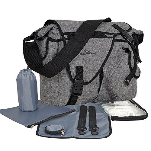 Keanu Mega Sac à langer pour bébé : sac à bandoulière avec matelas à langer, fixation pour poussette, mousqueton, sac à couches, sac à biberon, étui à tétine
