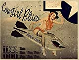 Pinup Girl Cowgirl Blues Metal Sign, WWII Airplane Nose Art, Vintage Décor 8x12 Inch Tin Sign
