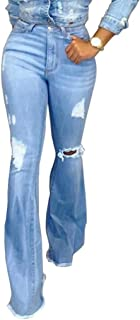 LANSKRLSP Pantalones Mujer Vaqueros Acampanados Largos Elástico Cintura Alta Retro Flared Jeans