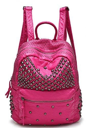 Sannea Womens Studded Rose Leather Backpack Casual Pack Fashion School Bags for Girls