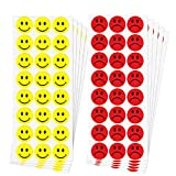 dealzEpic - Yellow Happy Smiley Face and Red Sad Frowning Face Round Labels - Self Adhesive Peel and Stick Paper Behavior Stickers - 1 inch in Diameter