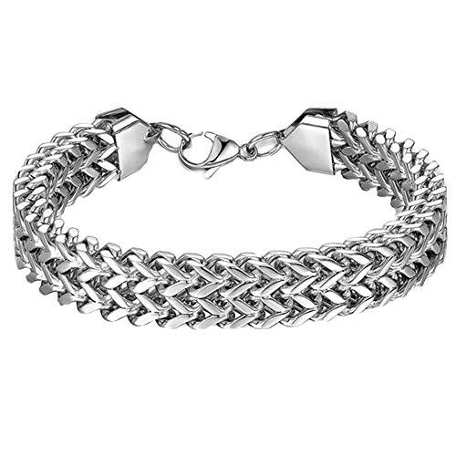 Jiacheng29_ Bracciale da uomo in acciaio al titanio con catena a due fili di grano, idea regalo e Lega, colore: Argento, cod. 59283jia