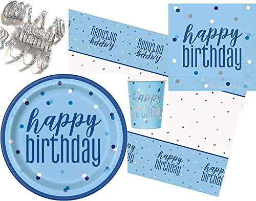 Party Supplies - Tableware Pack – Happy Birthday Blue Glitz Party Bundle – 16 Paper Plates, 16 Napkins, 16 Cups, 1 Tablecover - Disposable Tableware – Partyware For Kids - 49 items total.