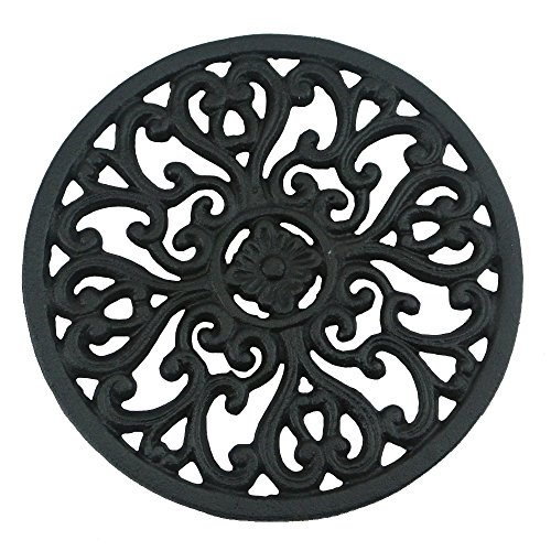 "Ogrmar 6.6"" Diameter Decorative Cast Iron Round Trivet with Vintage Pattern for Rustic Kitchen Or Dining Table with Rubber Pegs (6.6"", Brownish black)"