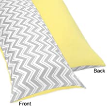 Sweet Jojo Designs Yellow and Gray Zig Zag Full Length Double Zippered Body Pillow Case Cover