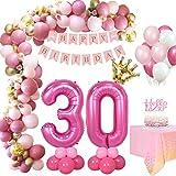 MMTX Decoracion Festa Rosa Retro de Cumpleaños Mujeres 30 Año, Foil Helio Globo Número 30, Pancarta de Feliz Cumpleaños, Adornos Globos de Latex Confeti Crown Manteles, Aniversario Niña Cumpleaños