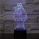 3D Sailor Moon luz de noche que cambia de color acrílico LED dormitorio...