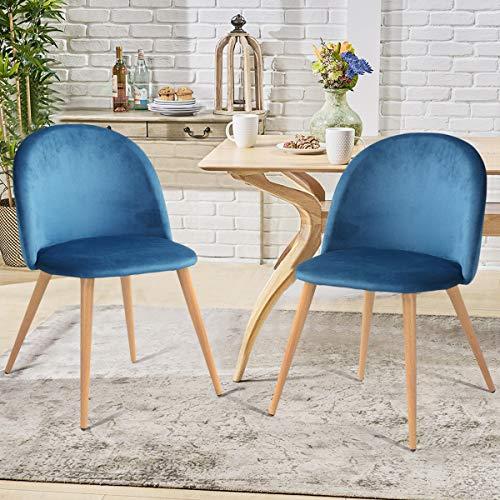 FURNISH1 - Juego de 2 sillas de Comedor y salón de Terciopelo, Color Azul Oscuro Estilo escandinavo, Patas de Metal con Acabado de Roble Claro.