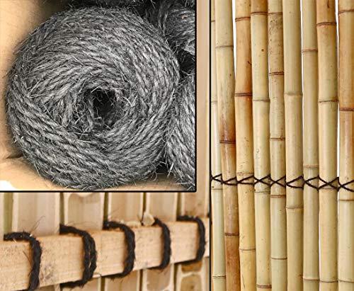 Palm- Kokosfaser Seil schwarz mit 3mm 50m gerollt von Bambus-Discount für Bambus Rohr Bambus Latten farbige Bambusrohre Bamboo Bambus Halbschale Bambusstangen Bambusstab Rohre aus Bambus Stab