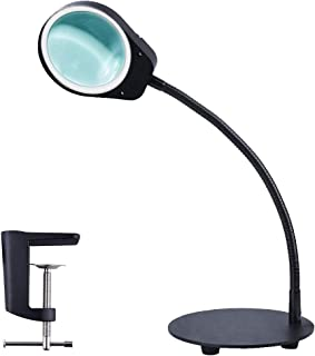 Zeagma Magnifying Glass Desk Lamp - Dimmable 2 in 1 Lighted Magnifier with Stand & Clamp - Adjustable Magnifying Glass LED Light for Reading, Crafts, Sewing, Workbench, Task, Close Work - Black
