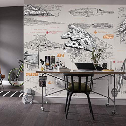 3D Fotobehang Behang Fotobehang Ruimteschip Ontwerp blauwdruk Fotobehang Baksteenbehang Kid Slaapkamer Hotelkamer decor-300x210cm(118.1by82.7in)