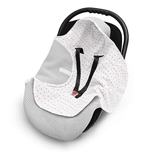 EliMeli Einschlagdecke für Babyschale 100% Baumwolle - Leichte Baby Decke für Autositz aus Waffelstoff und Musselin für den Sommer und Frühling, universal z.B. Maxi Cosi (Grau - Red Herz)