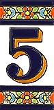Números casa. Letreros con numeros y letras en azulejo de ceramica policromada, pintados a mano en técnica cuerda seca para placas con nombres, direcciones y señaléctica. Texto personalizable. Diseño FLORES MEDIANO 10,9 cm x 5,4 cm. (NUMERO CINCO '5')