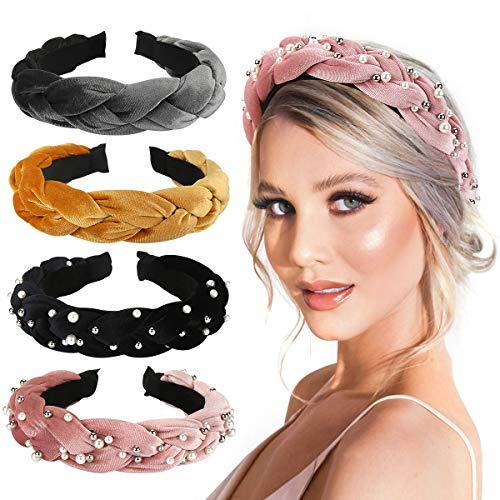 Hart Samt Stirnbänder, Makone 4 Stück Perle Stirnbänder Weben Samt Schwamm Haarbänder -Padded Stirnbänder Haarschmuck für Frauen