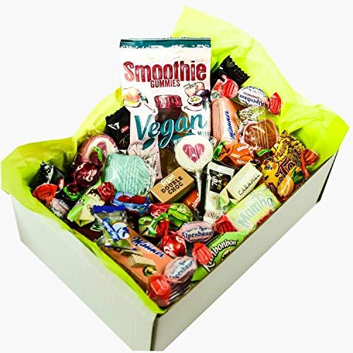 Süßigkeiten Mix Vegan Box mit Fruchtgummi, Waffeln, Bonbons, Lutschern, Retro Sweets uvm. (1 x 710g)