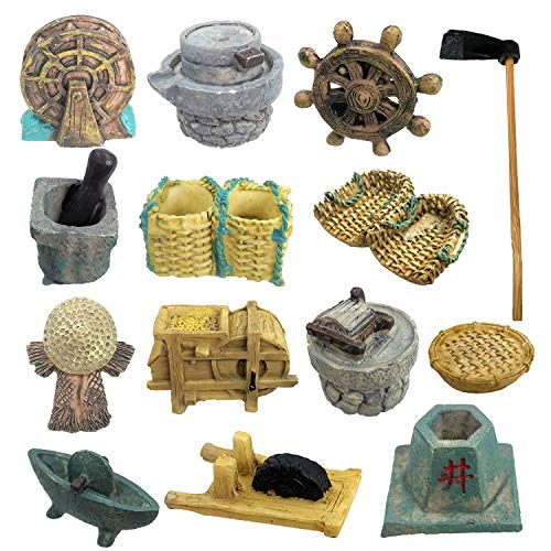 Trasfit Set of 14 Fairy Garden Accessories, Miniature Ancient Chinese Farm Tools for Micro Landscape Decoration Plant Pots Bonsai Craft Desktop Decor
