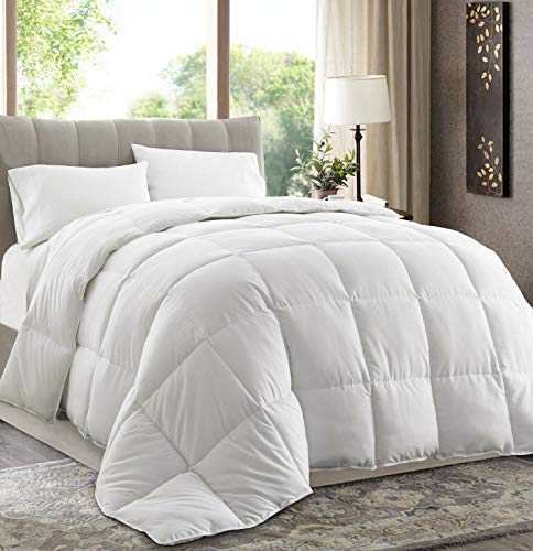 Chezmoi Collection All Season Down Alternative Comforter - Hypoallergenic Plush Microfiber Fill - Box Stitch Quilted - Duvet Insert with Corner Tabs (Full/Queen, White)