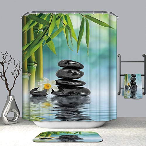 Nobrand Douchegordijnen van bamboe en stenen met een rustige natuur, waterdicht, meeldauwbestendig verdikt badgordijnen voor de badkamer