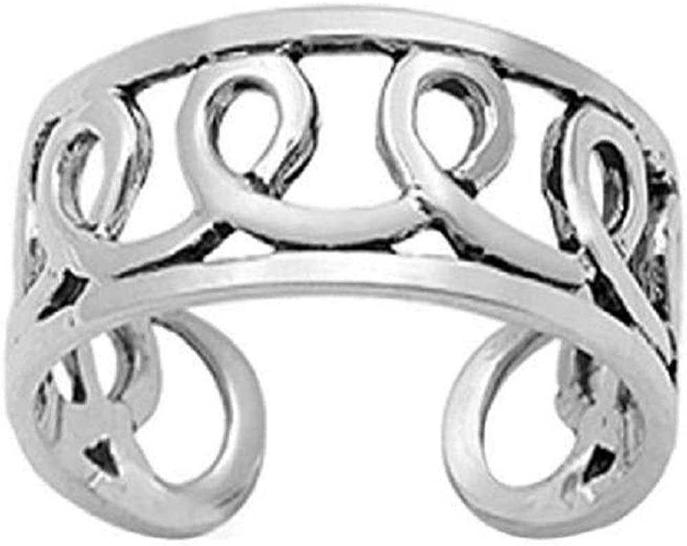 DTJEWELS Loopy Adjustable Toe Ring for Topics on TV White in 14K Women's Choice Gold