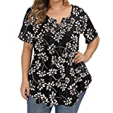 Generic11 Magliette da Donna Resistenti agli strizzacervelli Street Wear Girocollo con Stampa Floreale Taglie Forti T-Shirt Casual Comoda da Indossare Ogni Giorno