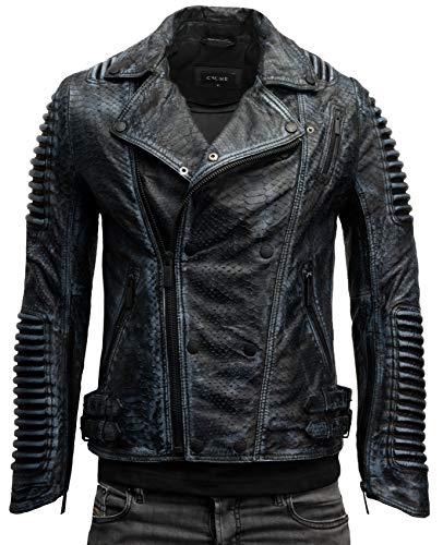 Crone Unique Herren Python Cut Limited Edition Lederjacke Biker Jacke mit Strukturiertem Rindsleder (Black Python - Limited Edition, M)