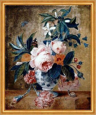 Kunstdruck A Delft Vase with Flowers Jan Van Huysum Keramik Blumenstrauß Blüten B A2 02459