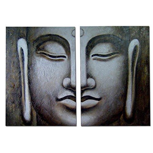 2(100x75) cm Cuadros Grandes Pintados en Lienzo Modernos - figurativos – Diptico -Cuadros de Buda, Arte para tu decoración
