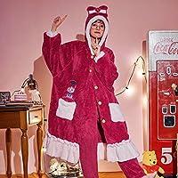 女性のパジャマの女性の秋と冬の長い春と秋のサンゴの豪華な暖かいナイトガウンフード付き厚生フランネルハウスウエルナイトガウンバスローブ,D,XL
